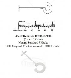 Avery Dennison 08901-2-5000 (2 inch / 50mm) Natural Standard J Hooks