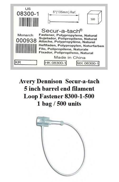 Avery Dennison Secur-A-Tach Loop Fasteners 08300-1-500 Nylon 5 inch Lot of 500 fasteners