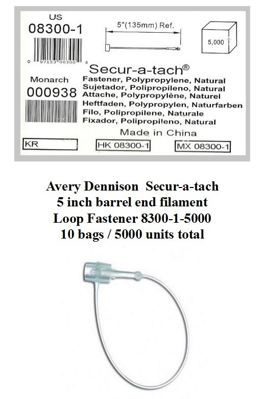 Avery Dennison Secur-A-Tach Loop Fasteners 08300-1-5000 Nylon 5 inch