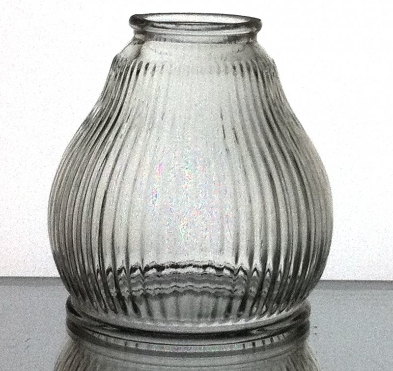 Glass Lamp Shade Ribbed Clear 2.125  inch fitter