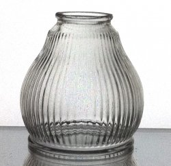 Glass Lamp Shade Ribbed Clear 2.125 inch fitter Medium Weight