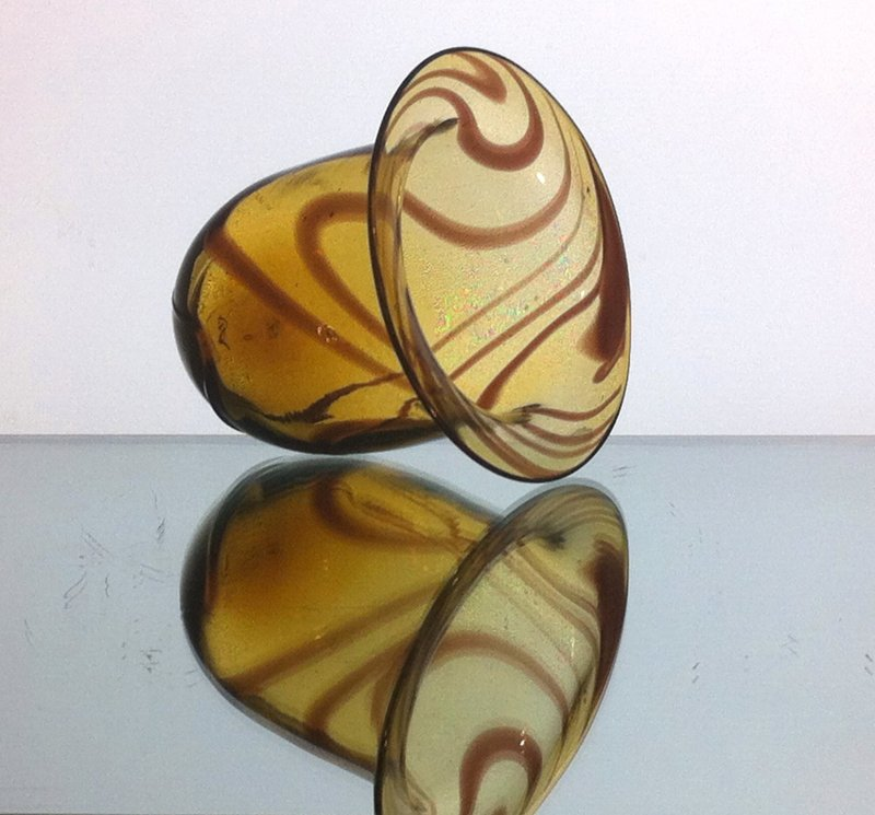 Hanging Candle Holder Amber Swirl 4 5 X 4 5 Thick Glass