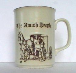 Coffee Mug The Amish People Embossed Brown Orange 10 Oz