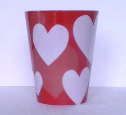 Coffee Mug HEARTS Starbucks Red White 12 Oz 2014