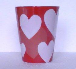 Coffee Mug HEARTS Starbucks Red White 12 Oz 2014
