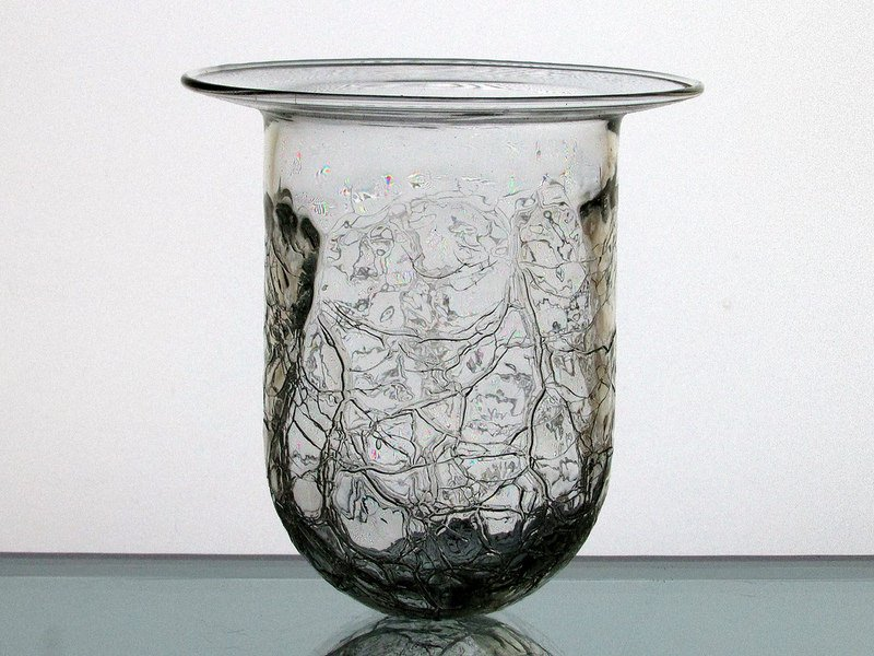 Hanging Candle Holder Crackle Glass Clear 4 3/8 x 4 HCH005