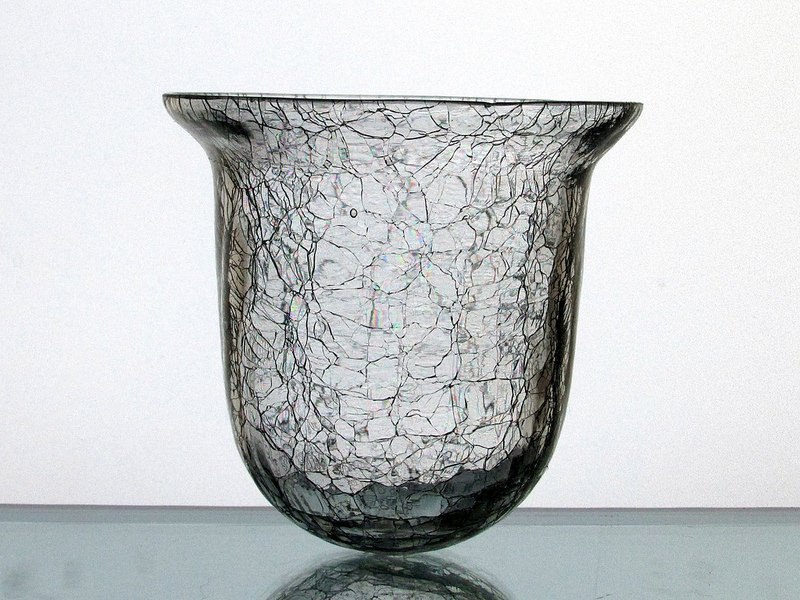 Hanging Candle Holder Flared Crackle Glass Clear 4 25 X 4 25 Hch007 Oos