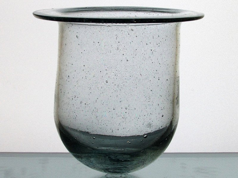 Hanging Candle Holder Flat Rim 5.25 x 5.25 Clear Bubble Glass HCH107