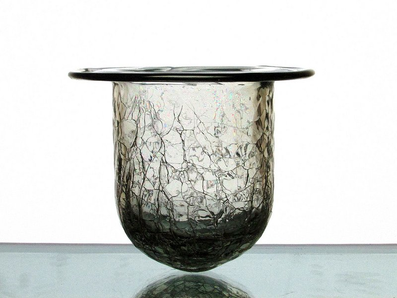 Hanging candle holder crackle glass clear 4 3 8 x for Flat candle holders