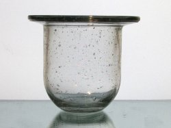 Hanging Candle Holder Flat Wide Rim 4.75 x 4 Heavy Bubble Glass HCH017