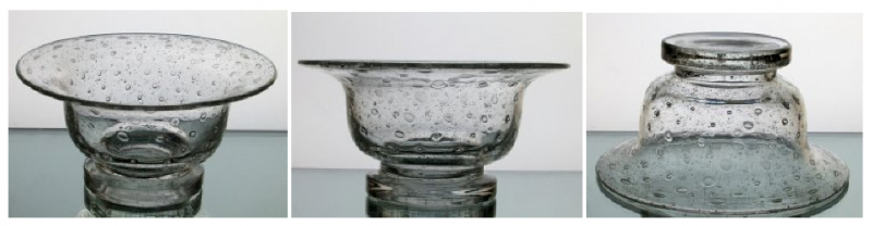 Hanging Candle Holder Bowl 7.75 x 4 Bubble Glass Pedestal for 6