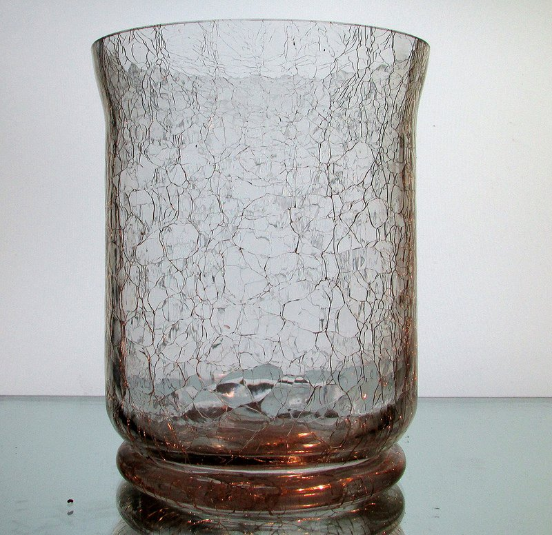Crackle Glass Hanging Vase Candle Holder