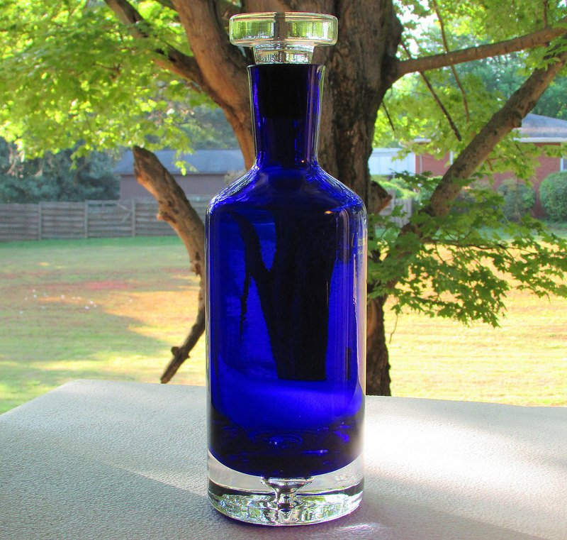 Decanter Bottle With Stopper Heavy Crystal Cobalt Blue