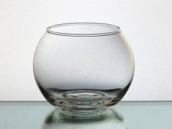 Candle Holder Clear Bulbous 3.25 x 4.25