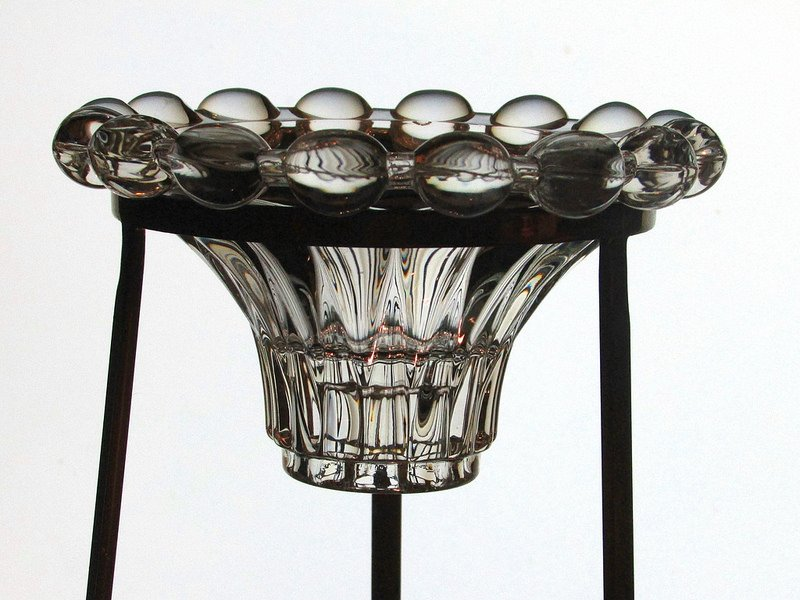 Hanging Candle Holder Crystal Balls Reversible Candle Stick for 3.5 inch ring Shown in a stand (Stand not included).