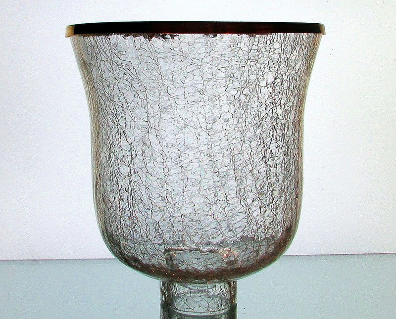 Wall Sconce Candle Holder Replacement : Crackle Glass Hurricane Shade XL 2.25 inch fitterx7.25 wx7.5 h OOS