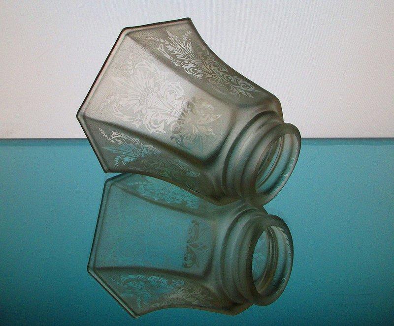 Glass Lamp Shade 2 1/8 fitter Antique Satin Fleur De Lis Spray Pale Amber