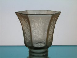 Glass Lamp Shade 2 1/8 fitter Antique Satin Fleur De Lis Spray Pale Amber