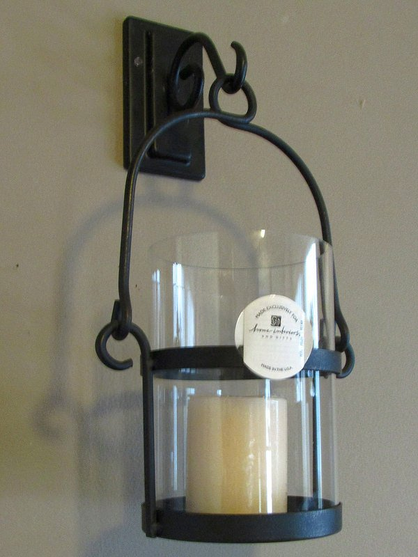 Home Interiors Wrought Iron Wall Sconce Candle Holder ... on Iron Wall Sconces For Candles id=22948