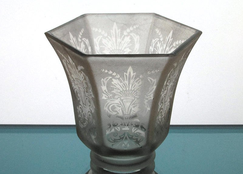 Glass Lamp Shade 2 1/8 fitter x 4 1/8 Frosted Fleur De Lis Spray
