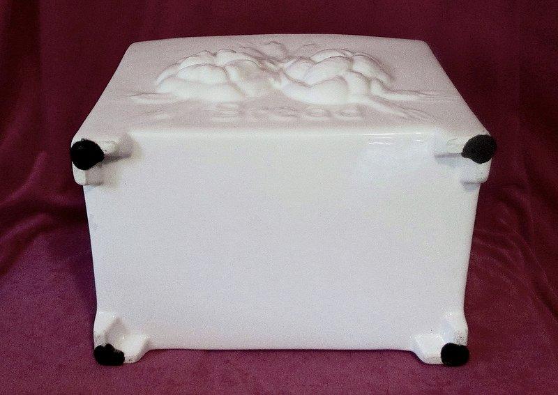 Ceramic Bread Box Traditional European Style White Xl Oos