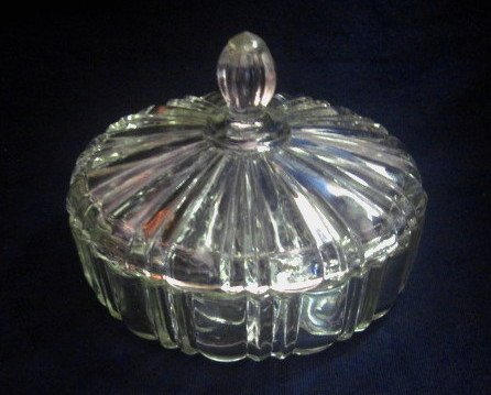 Vintage Covered Candy Dish Anchor Hocking Glass Old Cafe