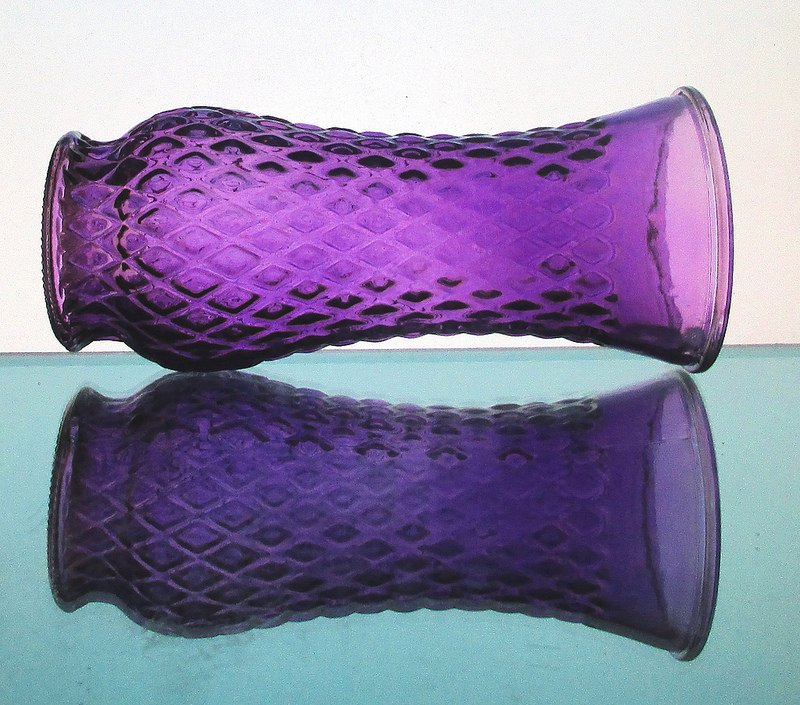 Purple Diamond Pattern Vase Glass 8.5 in x 3 7/8 inches