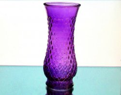 Purple Diamond Pattern Vase Glass 8.5 in x 3 7/8 inches Hanging or Tabletop
