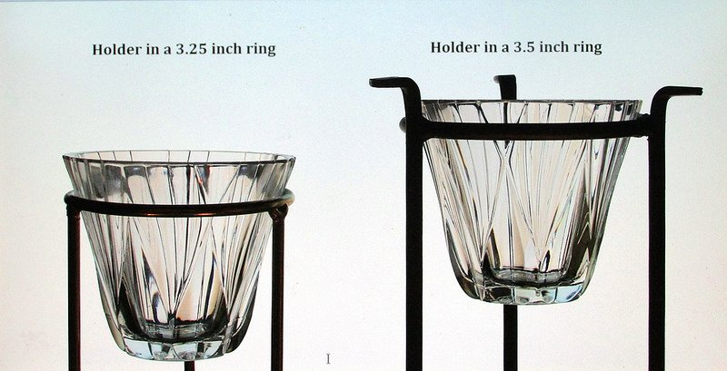 Hanging Candle Holder American Crystal 3 5/8 x 3 1/8 for 3.25 -3.5 inch ring, Holder shown in 3.25 inch support ring and 3.5 inch support ring. Stands not included. For display only.