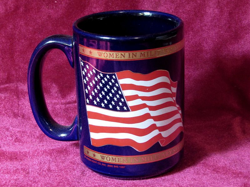 Coffee Mug Women in Military Service Midnight Blue Gold Leaf 16 oz 1994