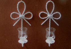 Home Interiors Wall Sconces Nautical Knot Candle Holders White Set of 2