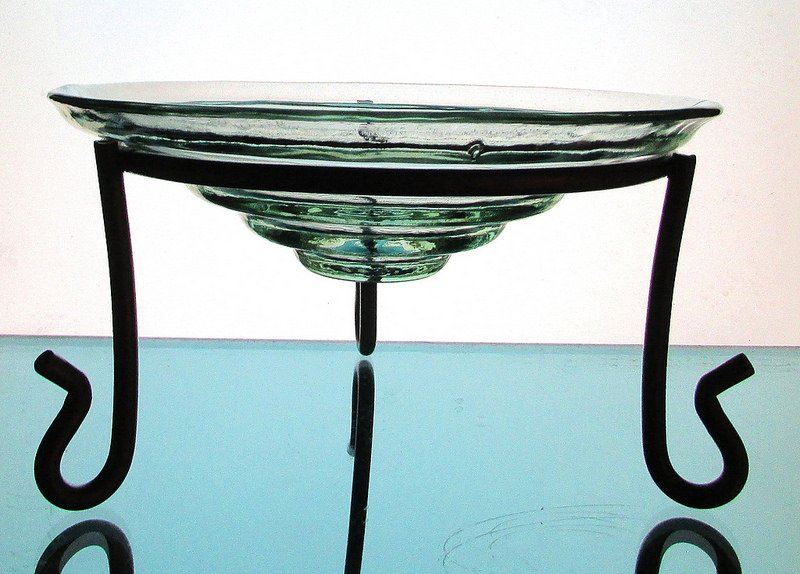 Hanging Candle Holder Tiered Bowl 8 x 2.5  Pale Green Stand not included, for Display only