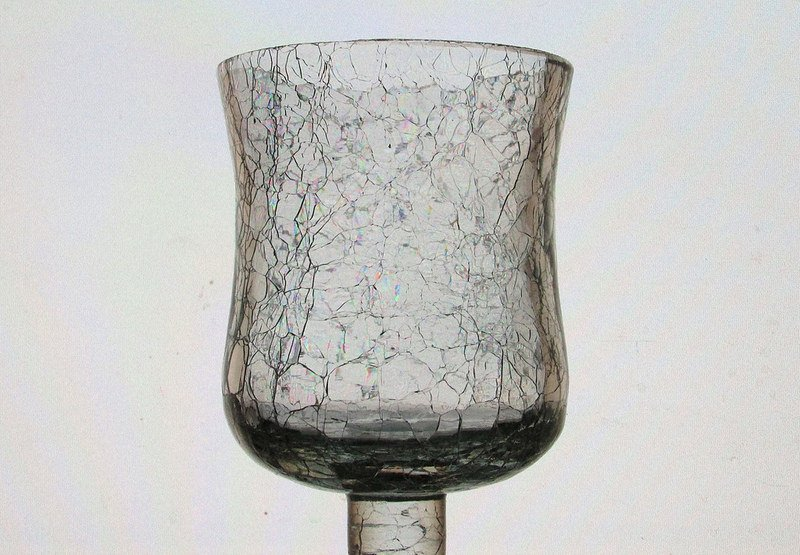Home Interiors Peg Votive Candle Holder Crackle Glass