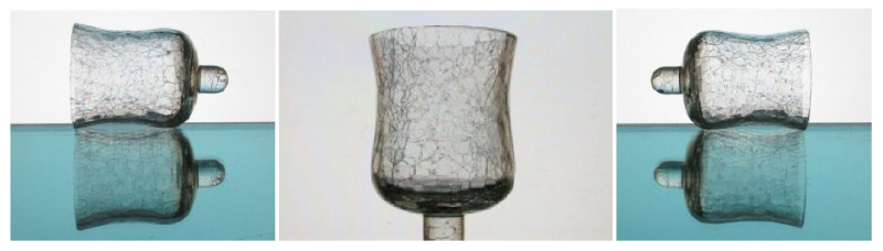 Home Interiors Peg Votive Candle Holder Crackle Glass 4.25 inch x 2.75