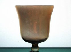 Hanging Candle Holder Bell with teardrop 3 1/8 x 4 Iridescent Amber HCH063
