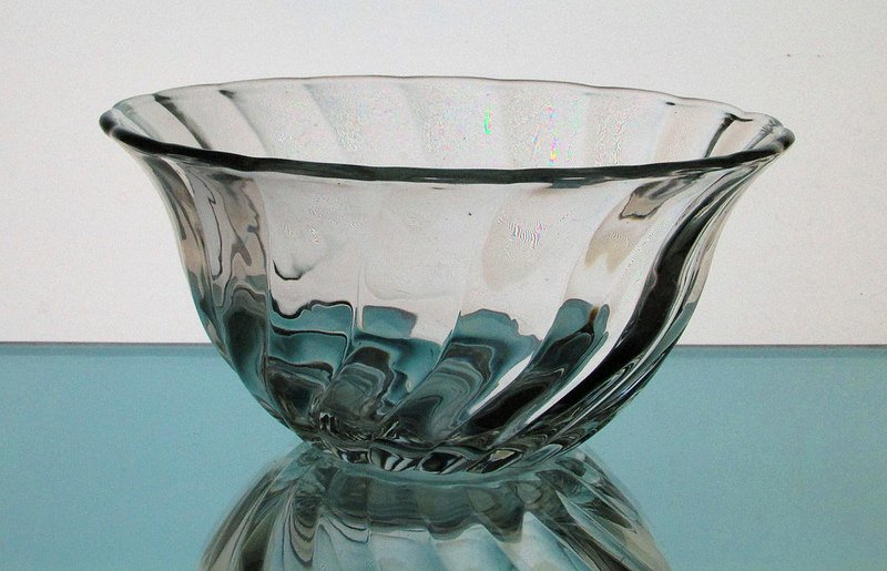 Hanging Candle Holder Clear Swirled Glass Bowl 6 5 8 X 3