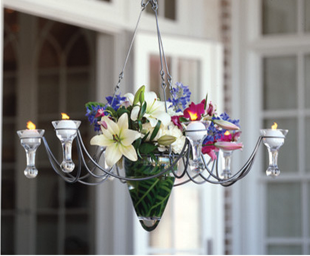 Hanging Candle Chandelier with teardrop holders. For display only. Not for sale