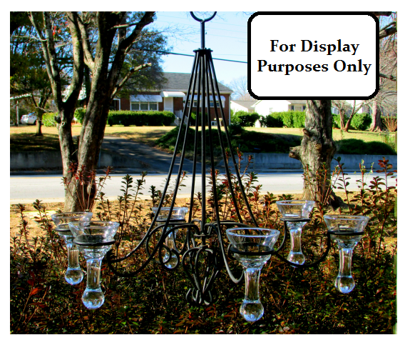 Hanging Candle Holder Chandelier with Heavy Teardrop 6 inches x 3 3/8 Special Order 