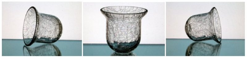 Image 5 of Hanging Candle Holder 4.25 x 4 5/8 Heavy Crackle Glass HCH077 OOS