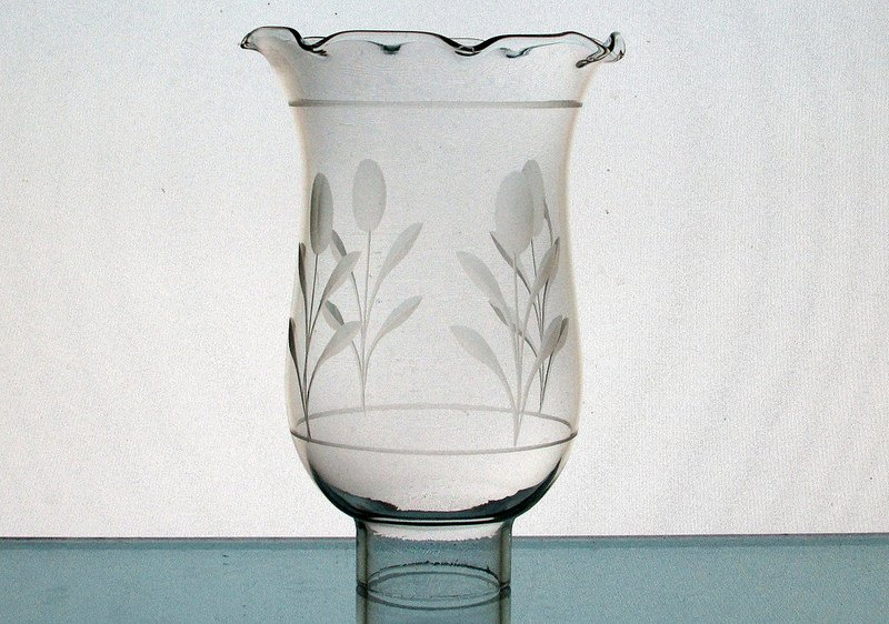 Hurricane Lamp Shade 1 5/8 Fitter x 6 x 4 Floral Puff