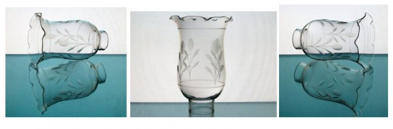 Hurricane Lamp Shade 1 5/8 Fitter x 6 x 4 Floral Puff Crimped Rim