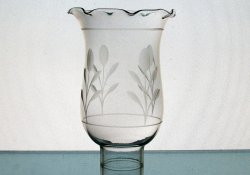 Hurricane Lamp Shade 1 5/8 Fitter x 6 x 4 Floral Puff Crimped Rim