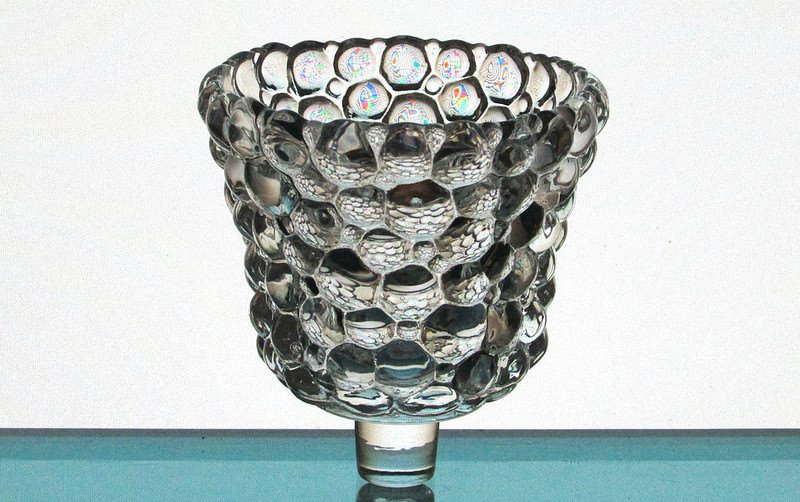 Peg Votive Candle Holder Clear Glass Bubbles