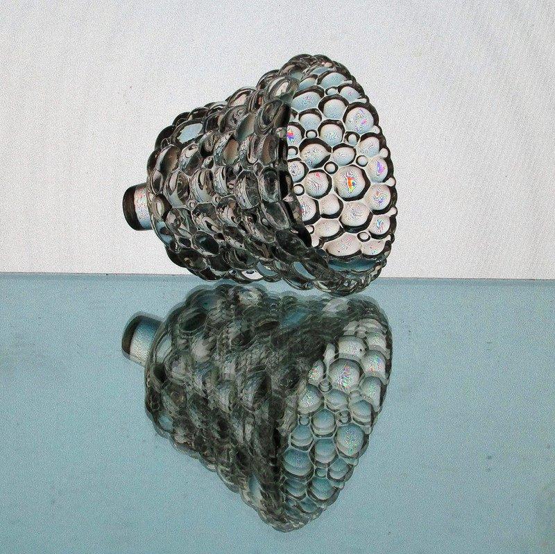 Peg Votive Candle Holder Clear Glass Bubbles