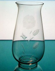 Hurricane Lamp Shade 2 7/8 fitter x 9 Etched Primrose Clear Glass