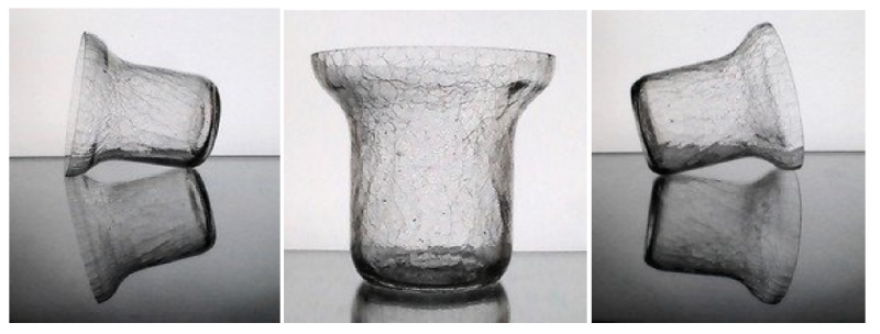 Hanging Crackle Glass Candle Holder Vase Clear 5.75 inches x 5.5