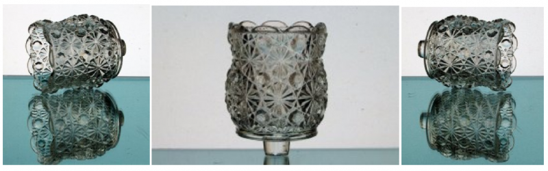 Peg Votive Candle Holder Daisy and Button by L.E. Smith Glass Clear Heavy