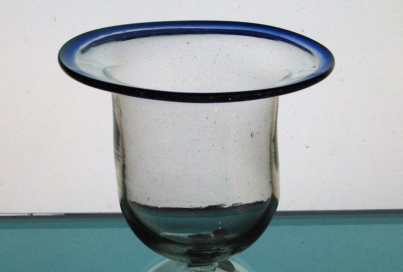 Hanging Candle Holder 4.25 x 5 Flared Cobalt Blue Rim HCH087 for 3.25 - 3.75 inch support ring Mexican Glass