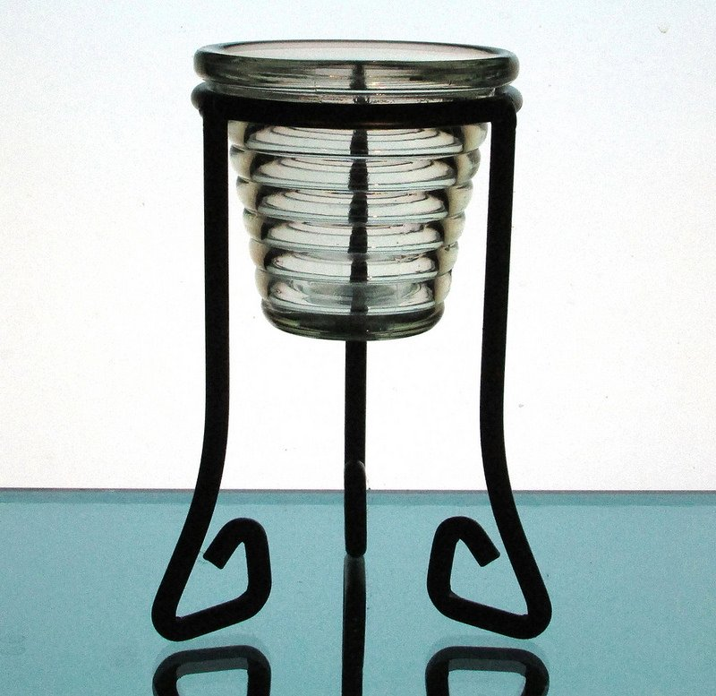 Hanging Candle Holder Terraced Rings 3.75 x 3.25 Pale Green HCH088 Shown in stand with 3.25 inch ring. Stand not included.