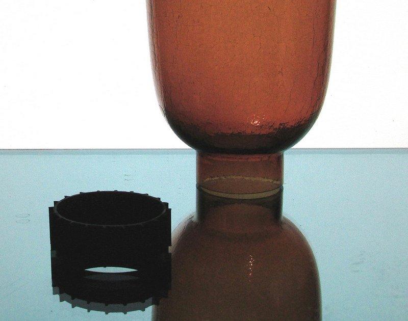 Hurricane Lamp Shade 2.25 inch fitter x 7.75 x 5.75 Amber Crackle Glass
